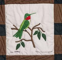 Vintage Vail Quilt Square, Hummngbird