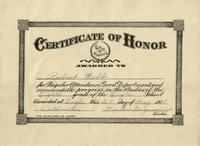 Certificate of Honor for Robert Webb